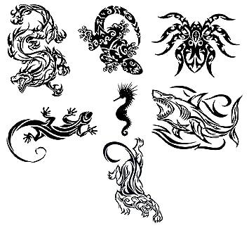 25362b63a Amazon.com : Assorted Tribal Animals Temporary Tattoos / Set of 7 : Beauty