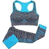 Sungpunet Mid-Impact Racerback Sports Bra with Pants Yoga Sets Space Dye Colors