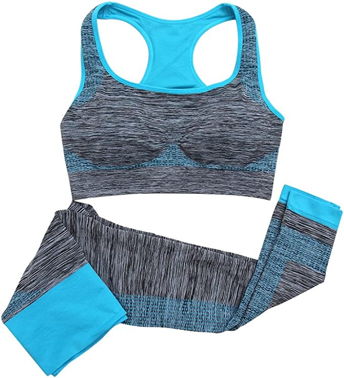 Daxin Women Yoga Fitness Seamless Bra+Pants Leggings Set Gym Workout Sports Wear