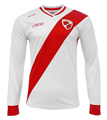 Peru Jersey New Arza Soccer White For Men Long Sleeve 100% Polyester (Small)