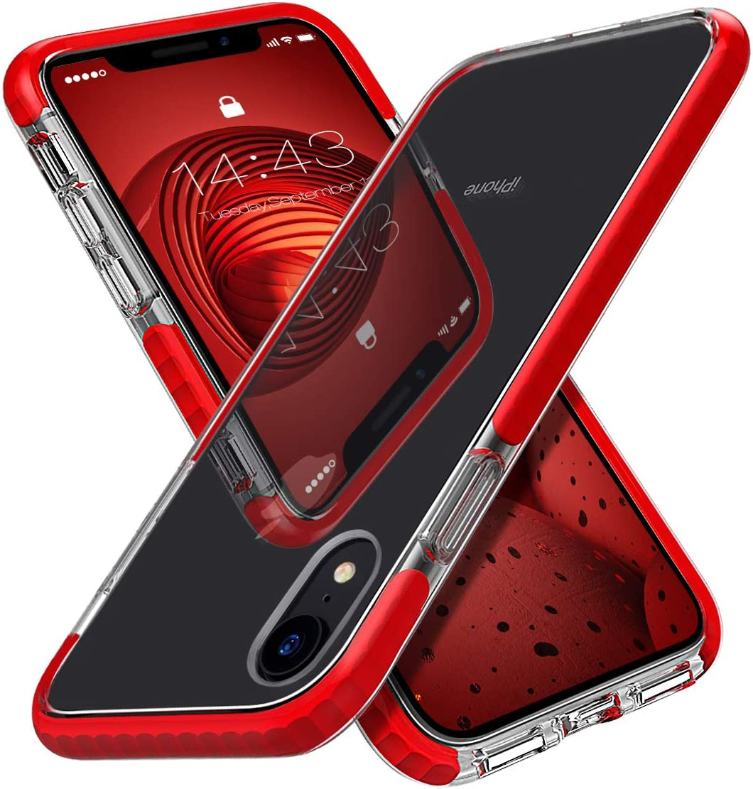 MATEPROX iPhone XR Case Clear Thin Slim Anti-Yellow Anti-Slippery Anti-Scratches Cover Shockproof Bumper Case for iPhone XR 6.1''(Red)