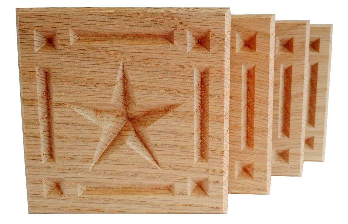 SET OF 4:Carved 5-Point Star w/Border Rosette Blocks, Made in USA (3.5''x3.5'' RED OAK)