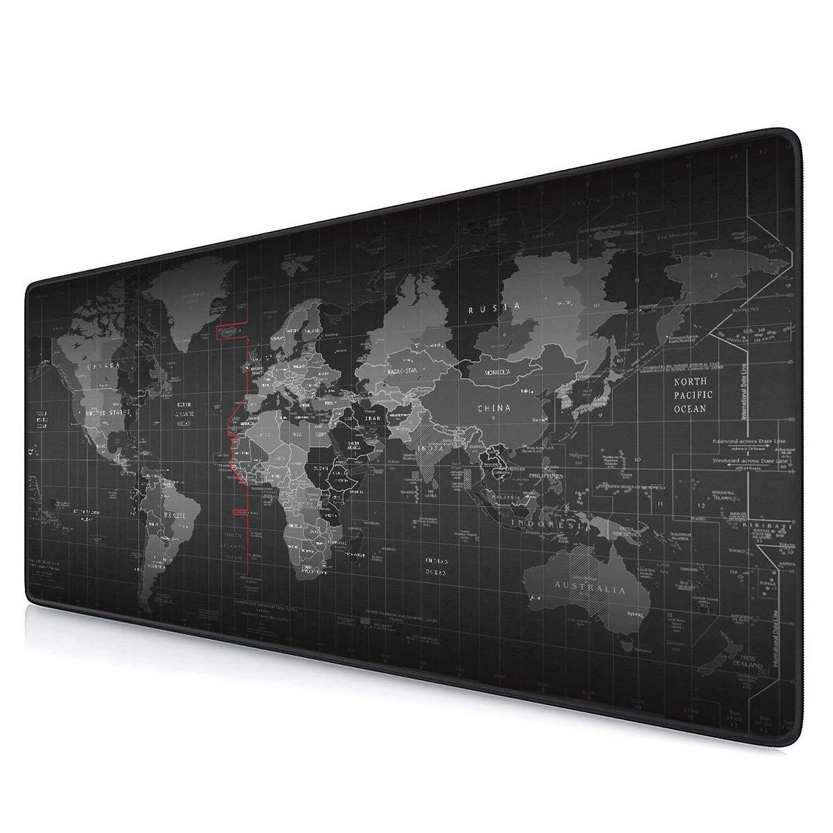 Wantu 大型ゲーム用マウスパッド 丈夫なステッチエッジの拡張マウスパッド デスクカバー コンピュータキーボード PC ノートパソコンに最適 B07KPBBK1M ワールドマップ(World Map)  ワールドマップ(World Map)