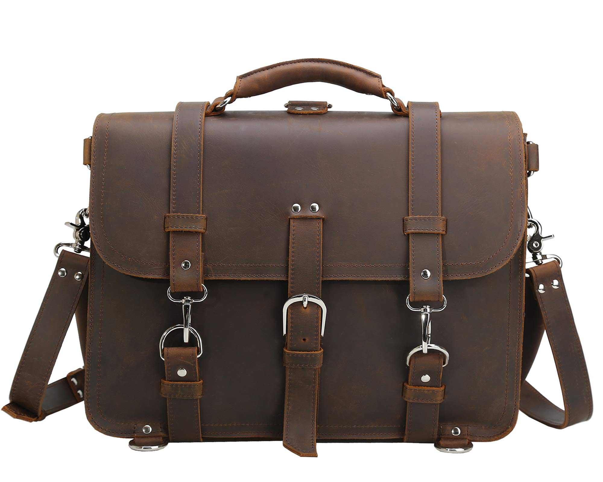 Texbo Men's 16 Inch Thick Cowhide Leather Briefcase Laptop Shoulder Messenger Bag Tote by Texbo (Image #3)