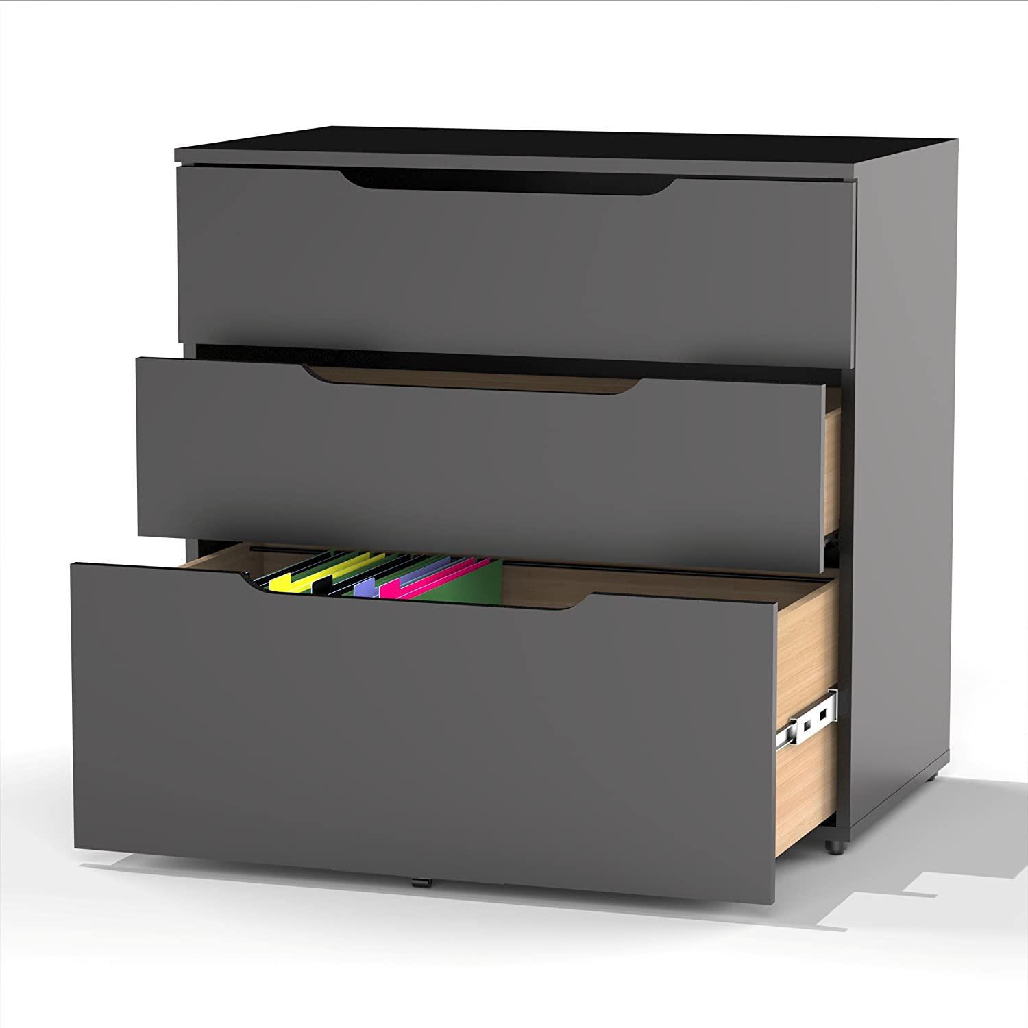 Amazon.com: Next 3 Drawer Filing Cabinet 600306 From Nexera, Black: Home U0026  Kitchen