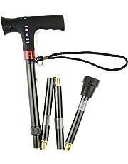 LED Flash Light Folding Walking Stick/Alarm/FM Radio-re-Chargeable, Foldable Crutch 325g
