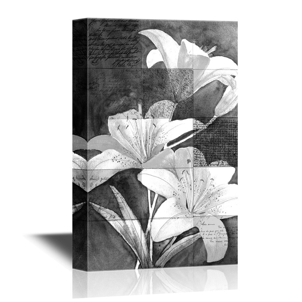 Black And White Flowers On Grunge Background Canvas Art Wall26