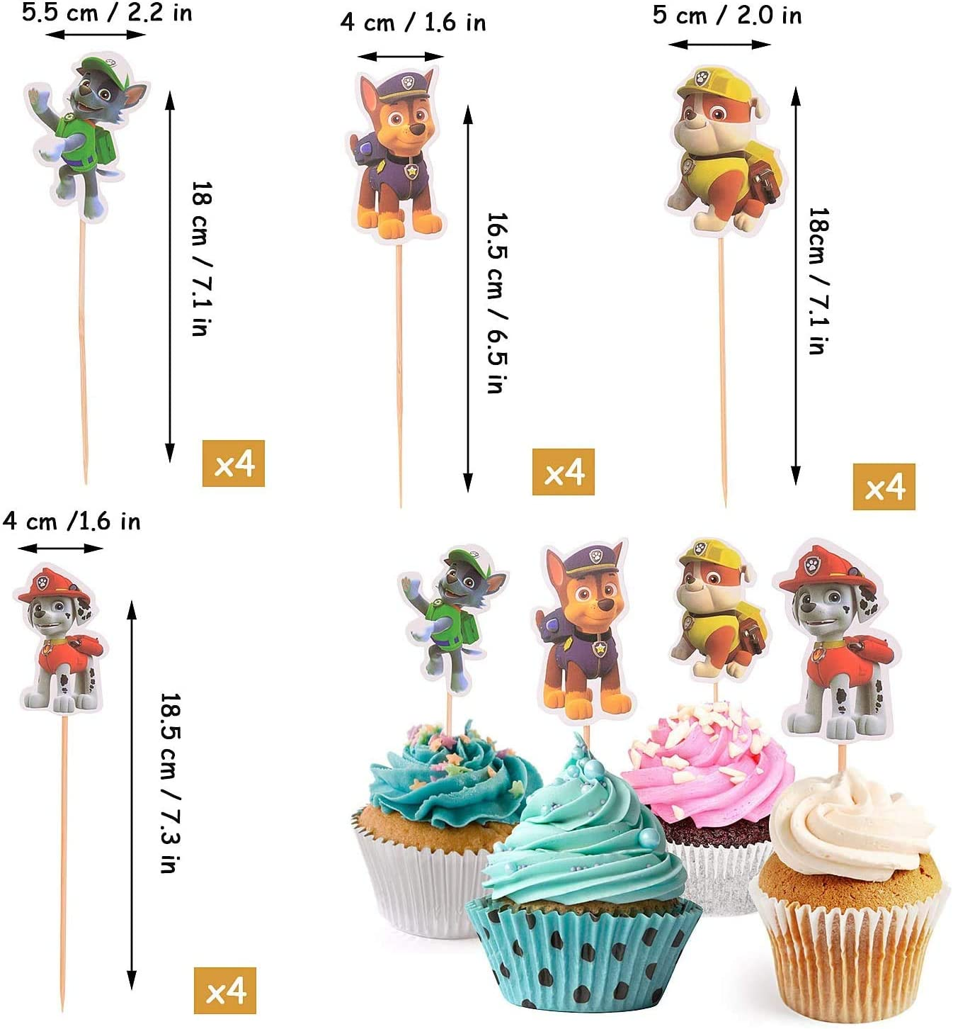Topper de Tarta Decoraci/ón para Pasteles JIALING 36 Piezas Cupcake Toppers Decoraci/ón para Cupcakes Fiesta de Cumplea/ños DIY Decoraci/ón Suministros de la Fiesta de Cumplea/ños de los Ni/ños