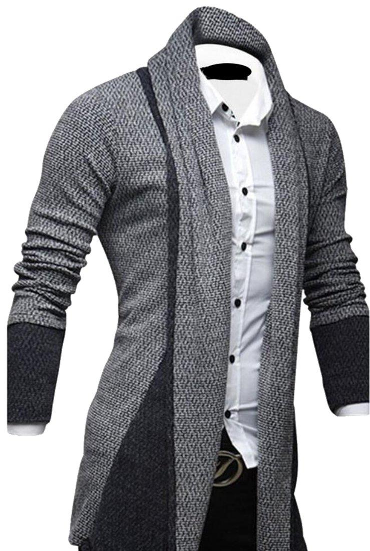 Cruiize Mens Open Front Draped Shawl Collar Longline Cardigan Sweater