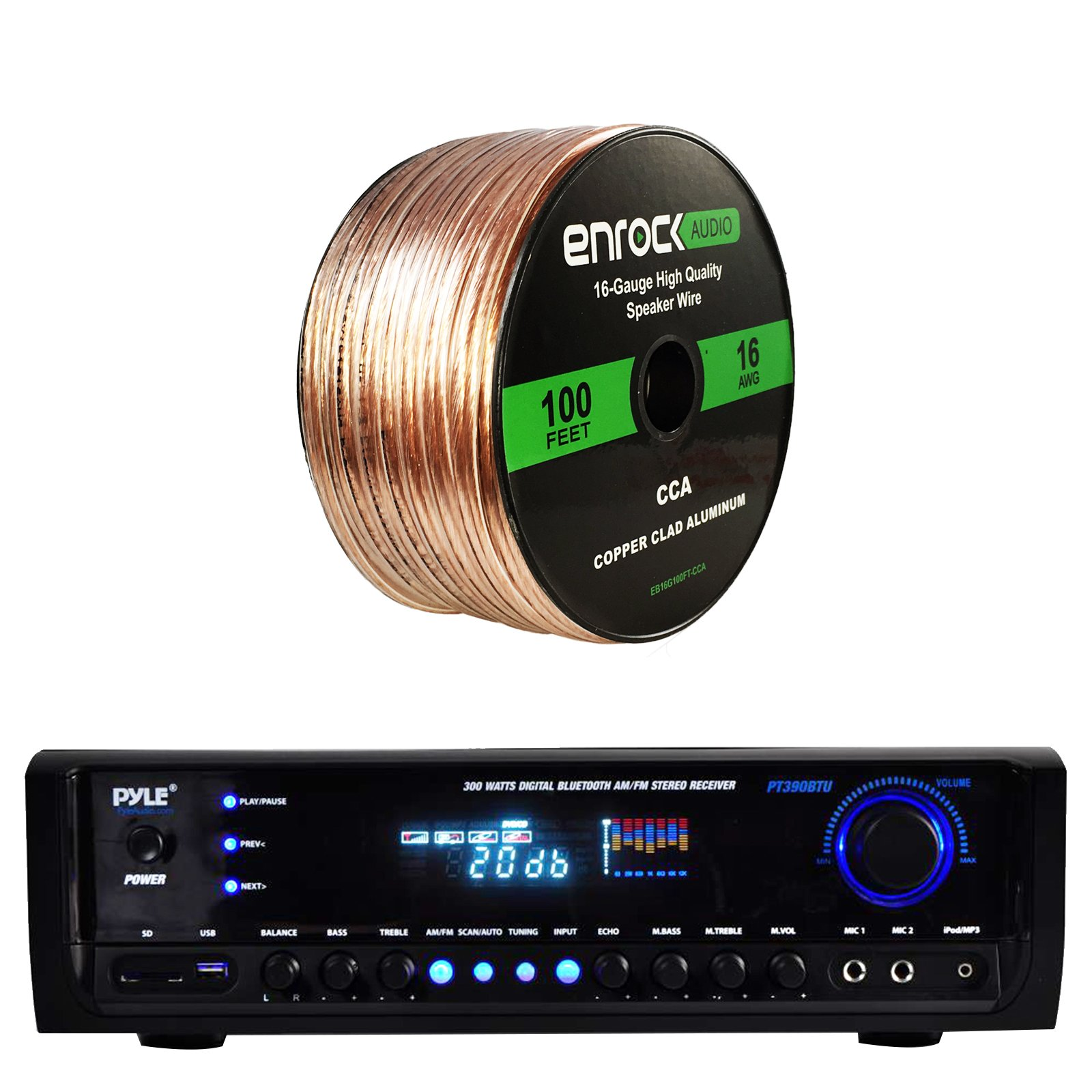 Pyle PT390BTU Bluetooth Digital Home Theater 300-Watt Stereo Receiver, with Enrock Audio 16-Gauge 100 Foot Speaker Wire by EnrockAudioBundle