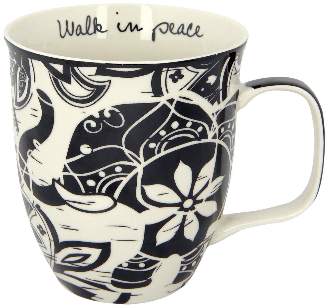 Karma Gifts Boho Black and White Mug, Elephant