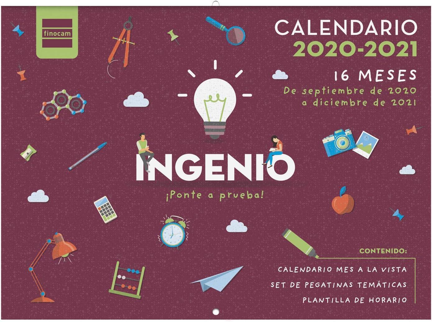 Finocam - Calendario de Pared 16 Meses 2020-2021 308x225 Mes Vista Ingenio Español