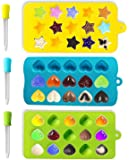 Joyoldelf Candy Molds & Ice Cube Trays - Hearts, Stars & Shells - Silicone Chocolate Mold Bonus 3 Droppers - Use for Cakes, Chocolate, Ice cream, Tarts, Muffins, Candles, Soaps, Jello, Mousses