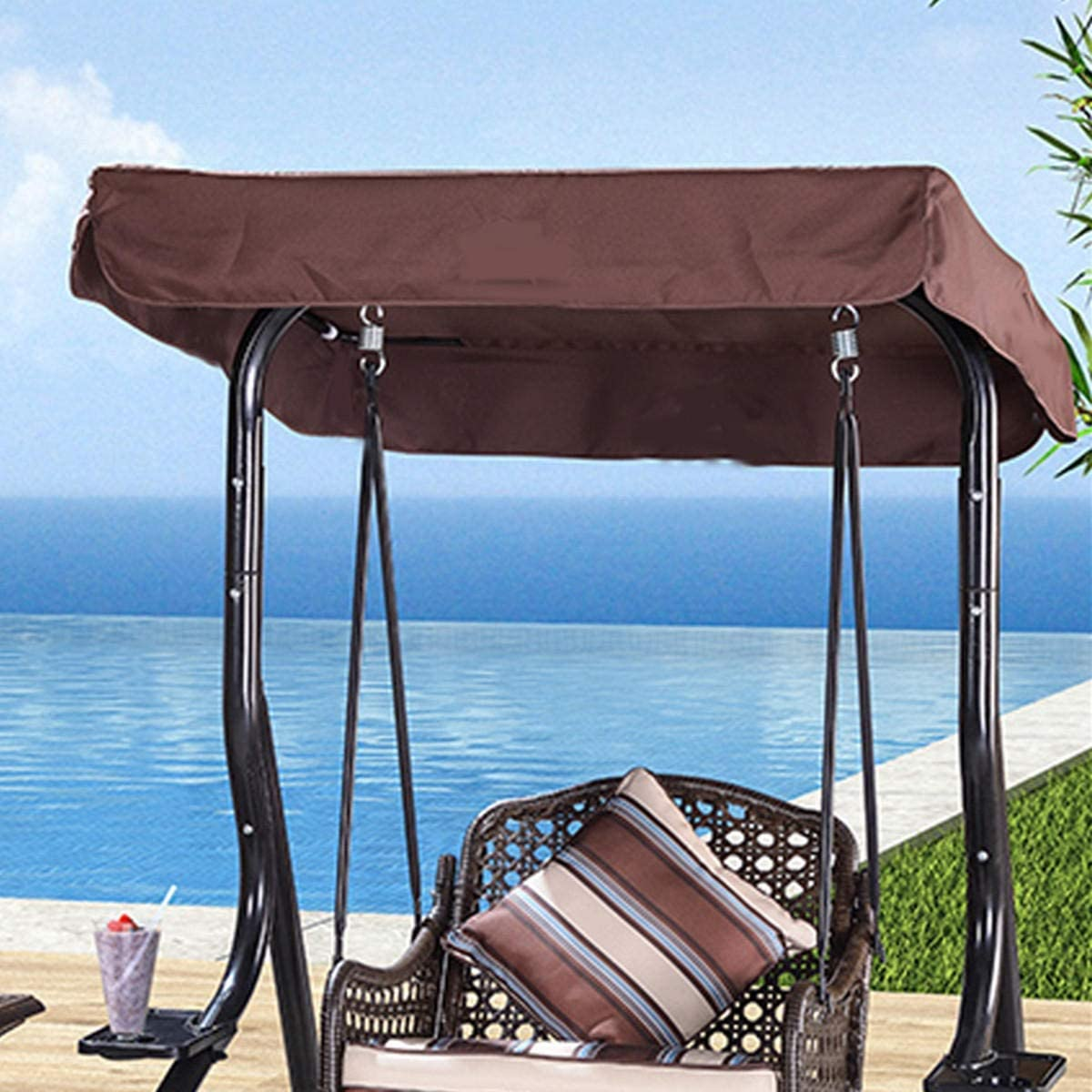 Frame Tents, 3 Seater Outdoor Garden Swing Chair Replacement Canopy Spare Fabric Sun Dust Waterproof Cover Waterproof Color : Coffee
