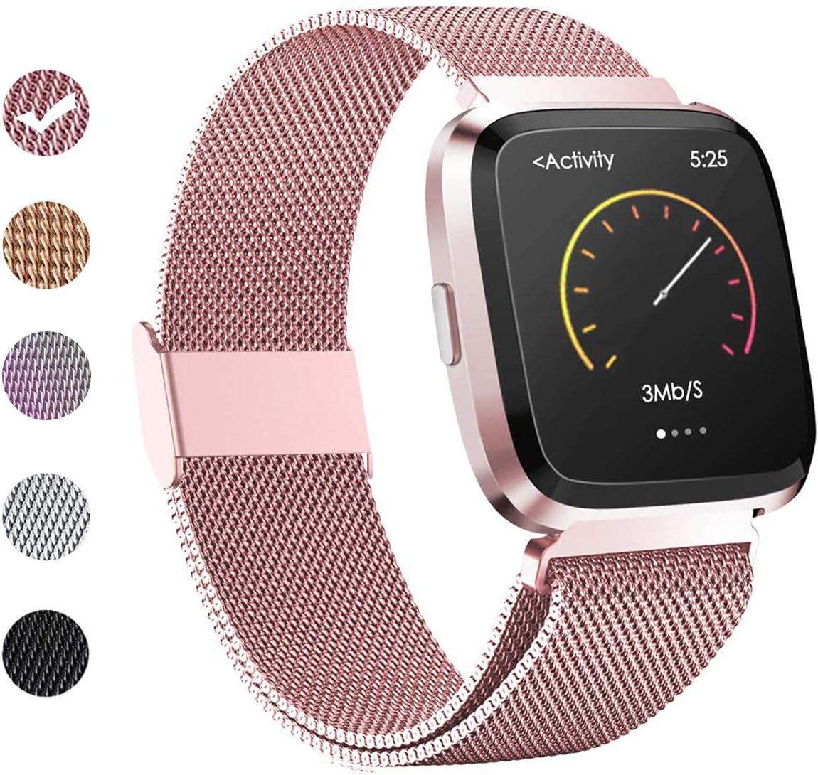 BeYself Compatible avec Fitbit Versa Bracelet M/étal Bande en Acier Inoxydable R/églable Bande de Remplacment Bracelet Sangle pour Versa//Versa Lite Edition