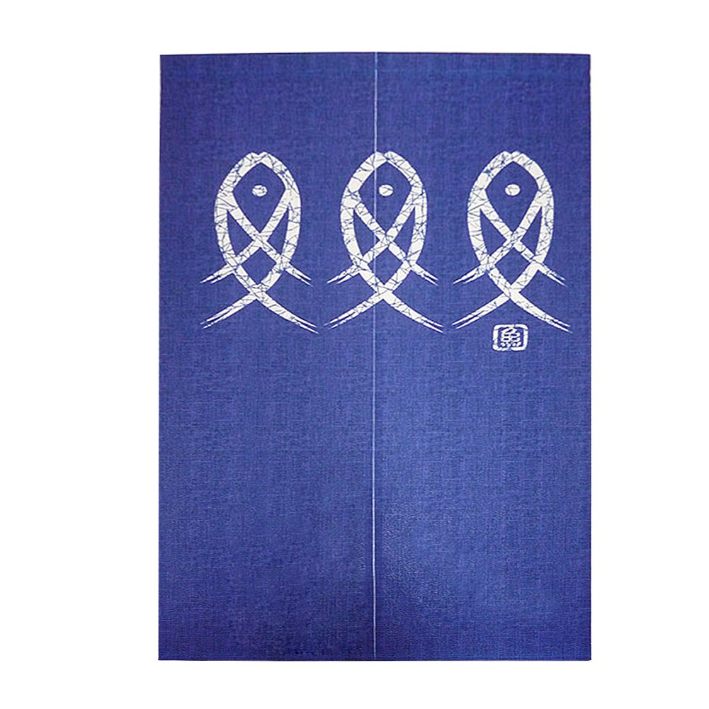 Bulary 85 x 150 cm/33.46 x 59.06 inch Geomantic Omen Hanging Curtain Japanese Style Doorway One-piece Curtain Three Fishes