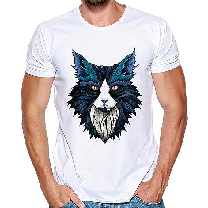 Sudadera Hombre Lanskirt Camisetas Estampadas PatróN de Lobo para Hombres Camisetas con Cuello Redondo BáSicas Camisas Verano Manga Corta Tops Casual Polos ...