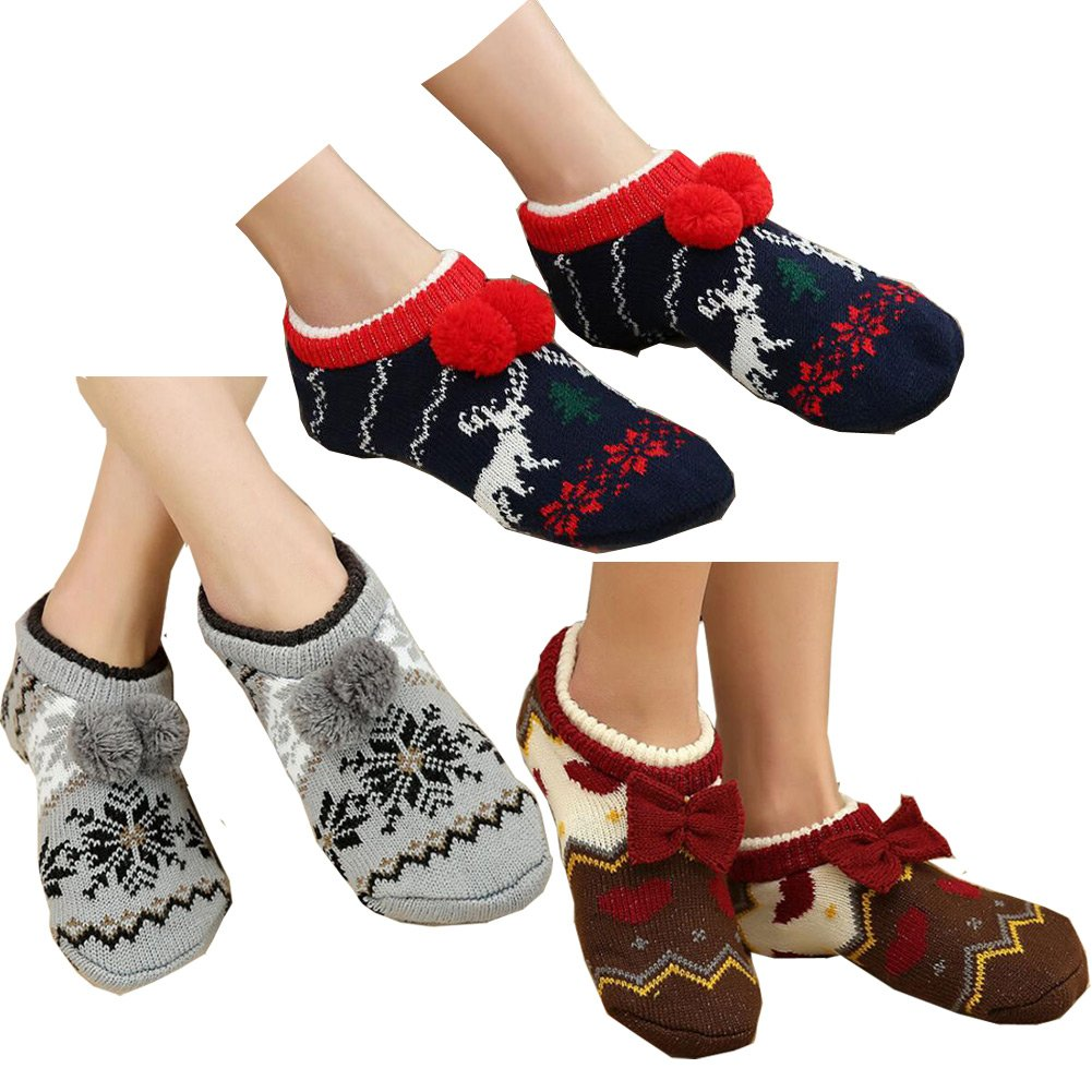 Lucky staryuan 3Pairs Women Floor Sock Thicker Warm Non-Slip House Socks (Style 1)