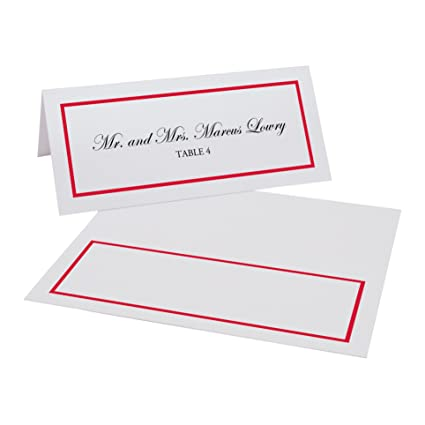 Documents and Designs Single Line Border Easy Print Place Cards (Select  Color/Quantity), Pearl White, Ruby Red, Set of 375 (63 Sheets)