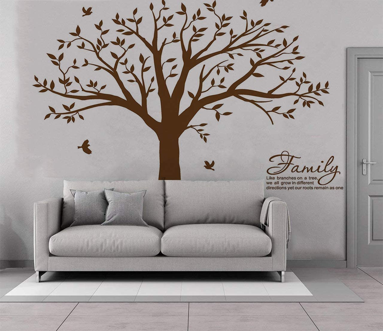 "Wall Decal Autocollant Amovible Cadre photo arbre avec famille branches Citation 108/""H"