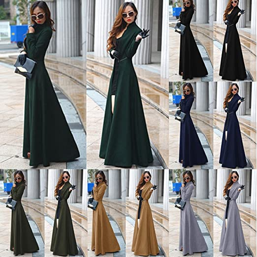 6002fad00780 EMVANV Femme Mode Printemps Automne Hiver Fin Extra Long en Laine Manteau  décontracté Manteau