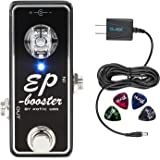 Xotic EP Booster Mini EQ Effects Pedal –INCLUDES– Blucoil Power Supply Slim AC/DC Adapter for 9V DC 670mA AND 4 Guitar Picks