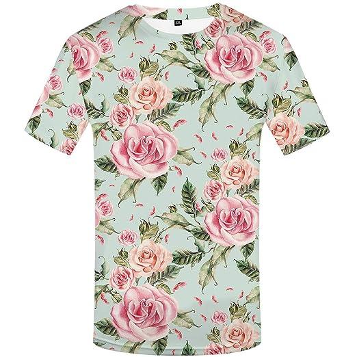 5c174a974 KYKU Flower T Shirt for Men 3D T Shirt Casual Stylish Mens Clothing Short  Sleeve (