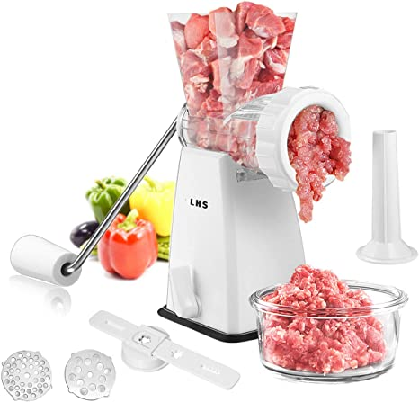 Manual Meat Grinder with Stainless Steel Blades Heavy Duty Powerful Suction Base for Home Use Fast and Effortless for All Meats