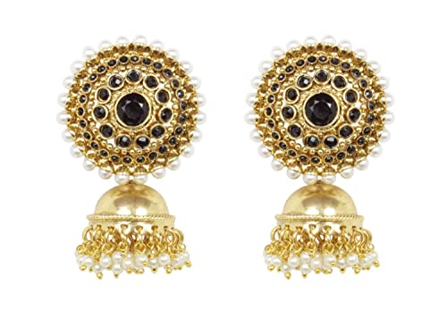 b0293dd0c7f Image Unavailable. Image not available for. Color  Ratna Indian Bollywood  Gold Tone Traditional Black Stone Jhumki Jhumka Earrings jewelry