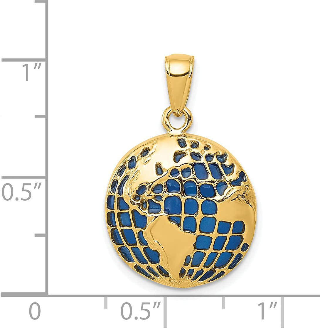 14k Yellow Gold BlueTranslucent Acrylic Globe Pendant