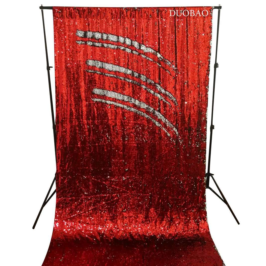 DUOBAO Sequin Backdrop 8Ft Mermaid Sequin Curtains Red to Silver Reversible Shimmer Backdrop 6FTx8FT Sparkle Photo Backdrop by DUOBAO