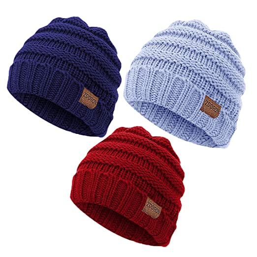 0975080c3bd Amazon.com  ZOORON Soft Warm Knitted Hats for Baby Boys and Girls ...
