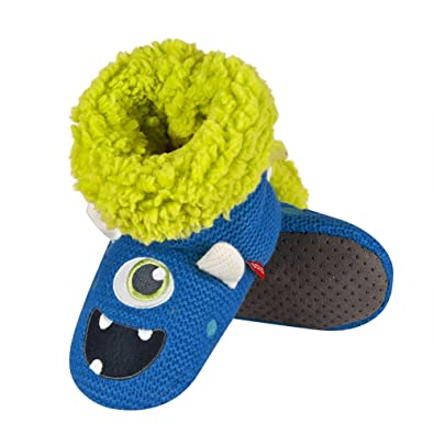 bdb9b1a68567 Boys Blue Monster Crochet Knitted Slipper Boots with Lime Green Sherpa  Fleece Lining (UK 9