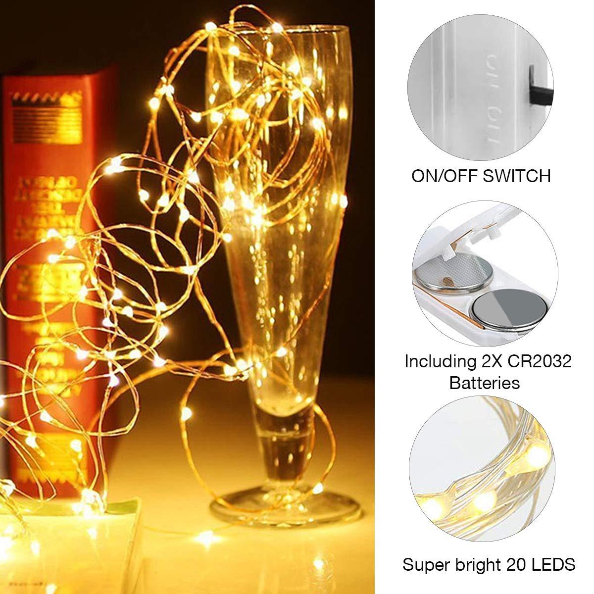 Juego de 15 luces LED para botellas con 95 pilas (20 ledes, 2 m de ...