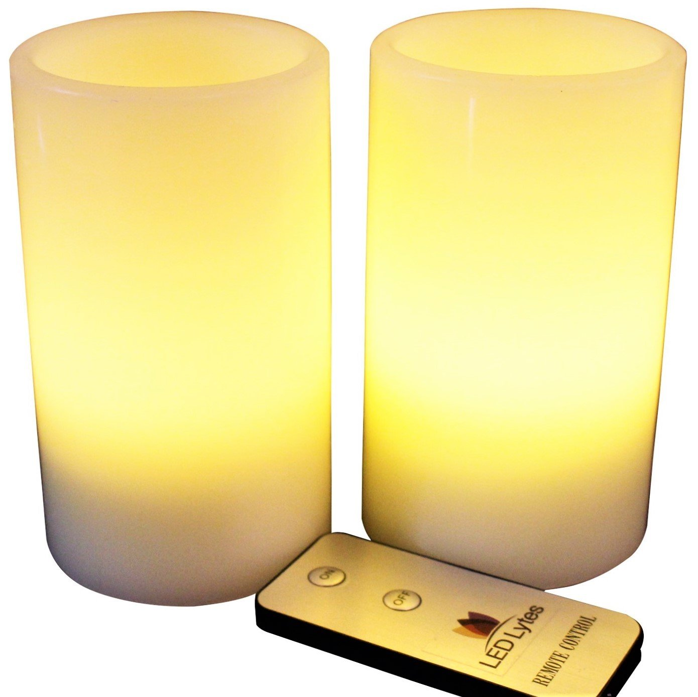 LED Lytes Flameless Candles Flickering - 2 Ivory Wax and Pale Yellow Flame Pillars Battery Operated with Remote for Parties, Weddings and Decorations