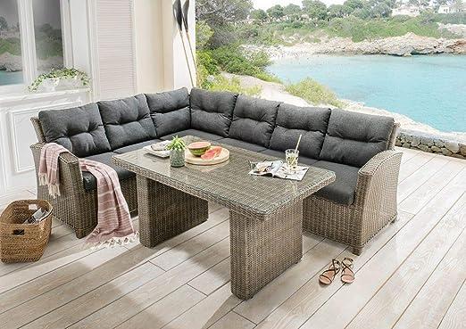 Dreams4Home Sidney - Conjunto de muebles de jardín con tapicería, incluye mesa de ratán: Amazon.es: Jardín