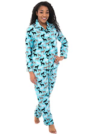 a93db625d3d85 Alexander Del Rossa Womens Flannel Pajamas, Long Cotton Pj Set, Small Happy  Dogs on