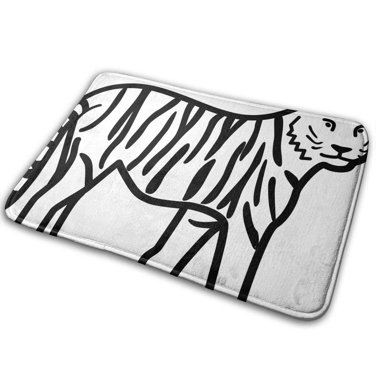 White tiger sketches home door mat super absorbent slide proof front floor matsoft coral memory foam carpet bathroom rubber entrance rugs for indoor