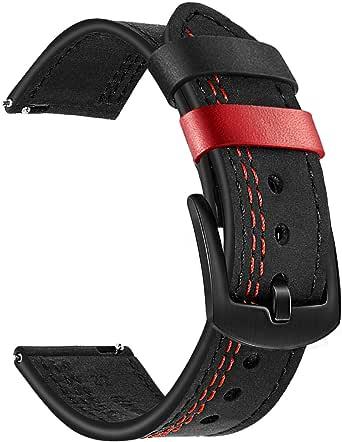 TRUMiRR Vervanging voor Garmin Vivoactive 3/Garmin Venu armband, 20 mm dubbele kleur echt lederen armband horlogeband voor Garmin Vivoactive 3/Vivoactive 3 Music/Forerunner 245/Forerunner Music