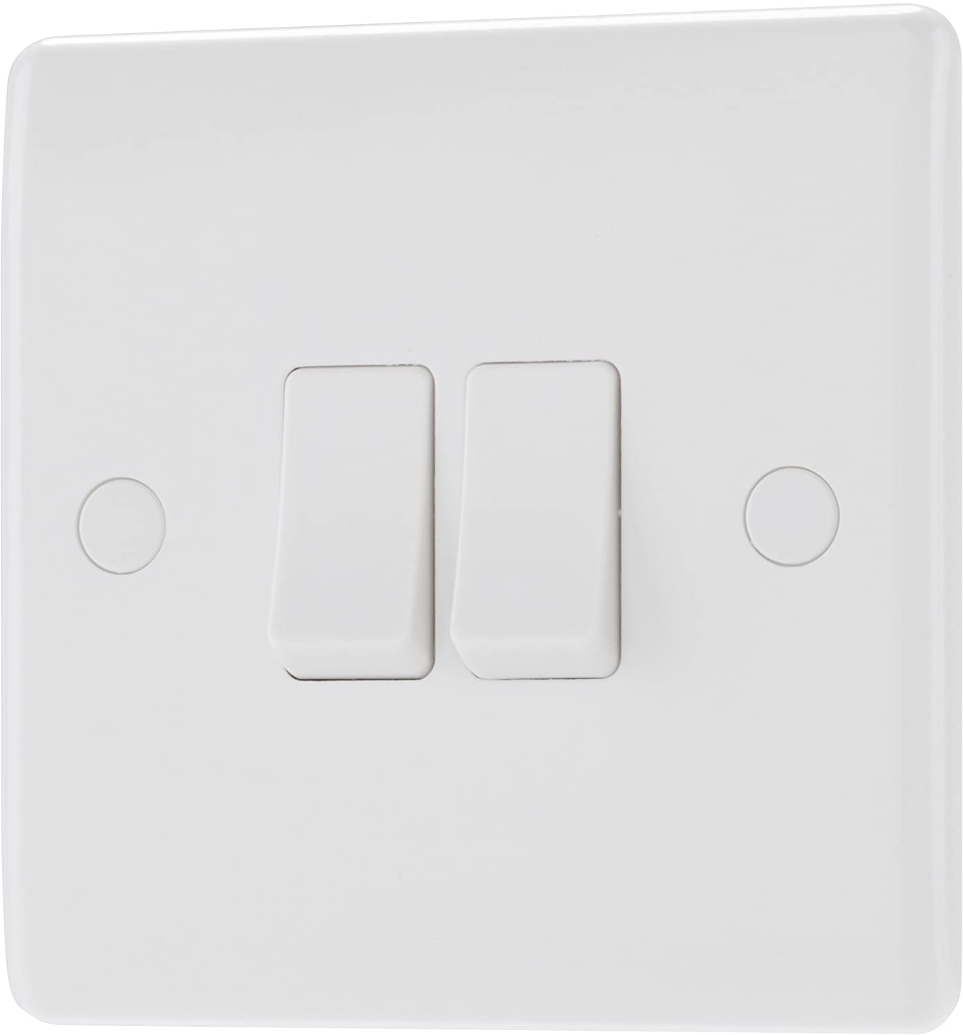 White Double 2 Way Electric Light Switch Box 2 Gang Electrical Wall 10 amp