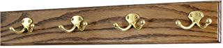 """product image for PegandRail Oak Coat Rack with Solid Brass Double Style Hooks (Walnut, 20"""" x 3.5"""" with 4 Hooks)"""