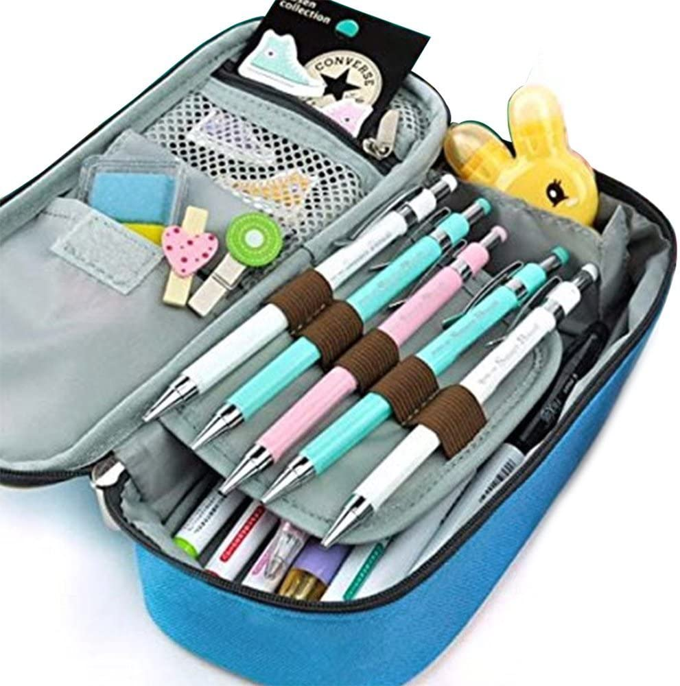QIANER Tin//tin Pencil Case Large Capacity Pen Case Office Stationery Bag for Girls Boys and Adults