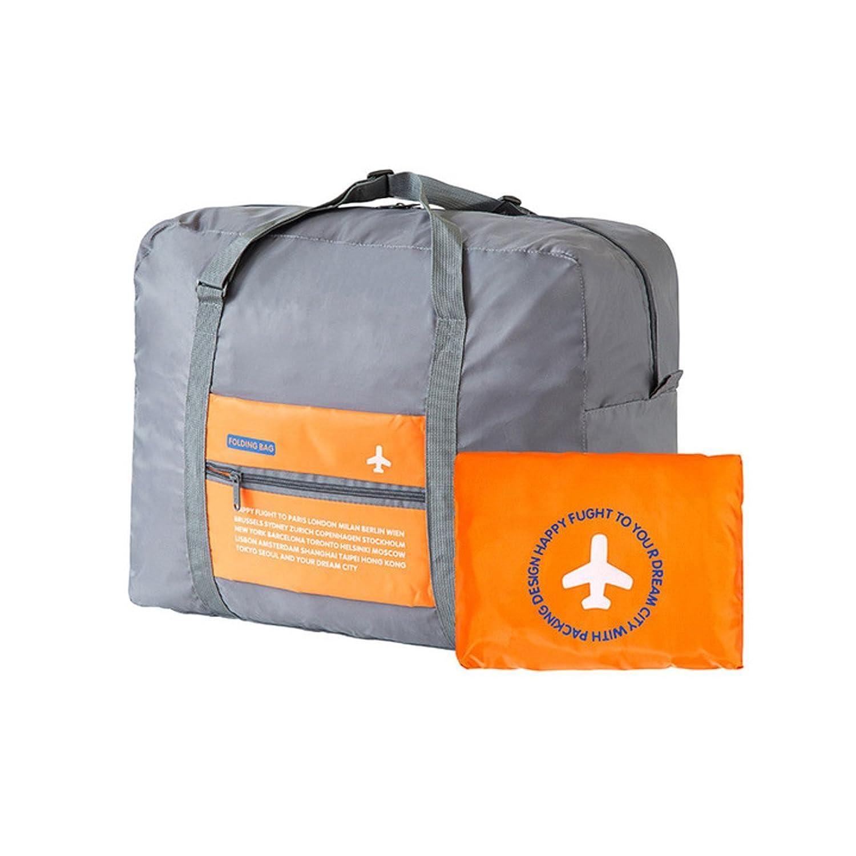 Brown Leaf Polyester Waterproof 185g Orange Folding Travel Bag