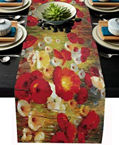 COLRGO Liner Fabric Table Runner 14x72IN,Retro Poppy Flower Floral Painting Style Red Yellow Durable Burlap Modern Wedding Gathering Baby Shower Dinner Table Setting Decor
