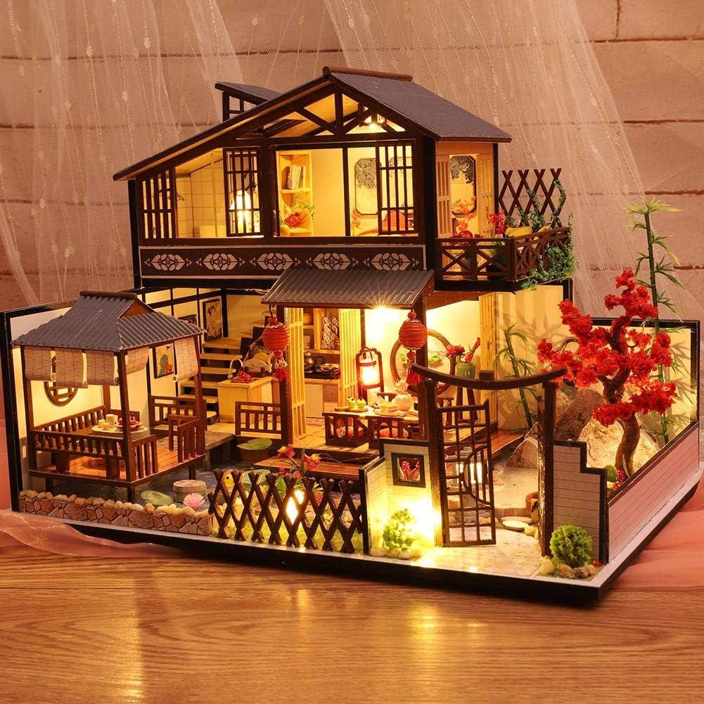Draulic DIY Dollhouse Kit Assembled Miniature Cabin Handmade-House mit Musikbewegung f/ür Weihnachten Geburtstag