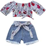 SUPEYA Toddler Baby Girls Stripe Off-Shouler Top+Denim Shorts with Bowknot Outfits
