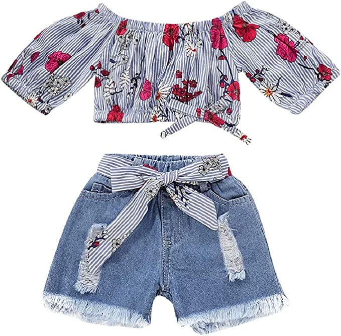 Jurebecia Toddler Baby Girl Clothes 2Psc Outfits Floral Print Ruffle Short Sleeve Tops Ripped Jeans Denim Pants Set