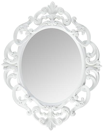 Amazoncom Kole White Oval Vintage Wall Mirror Home Kitchen