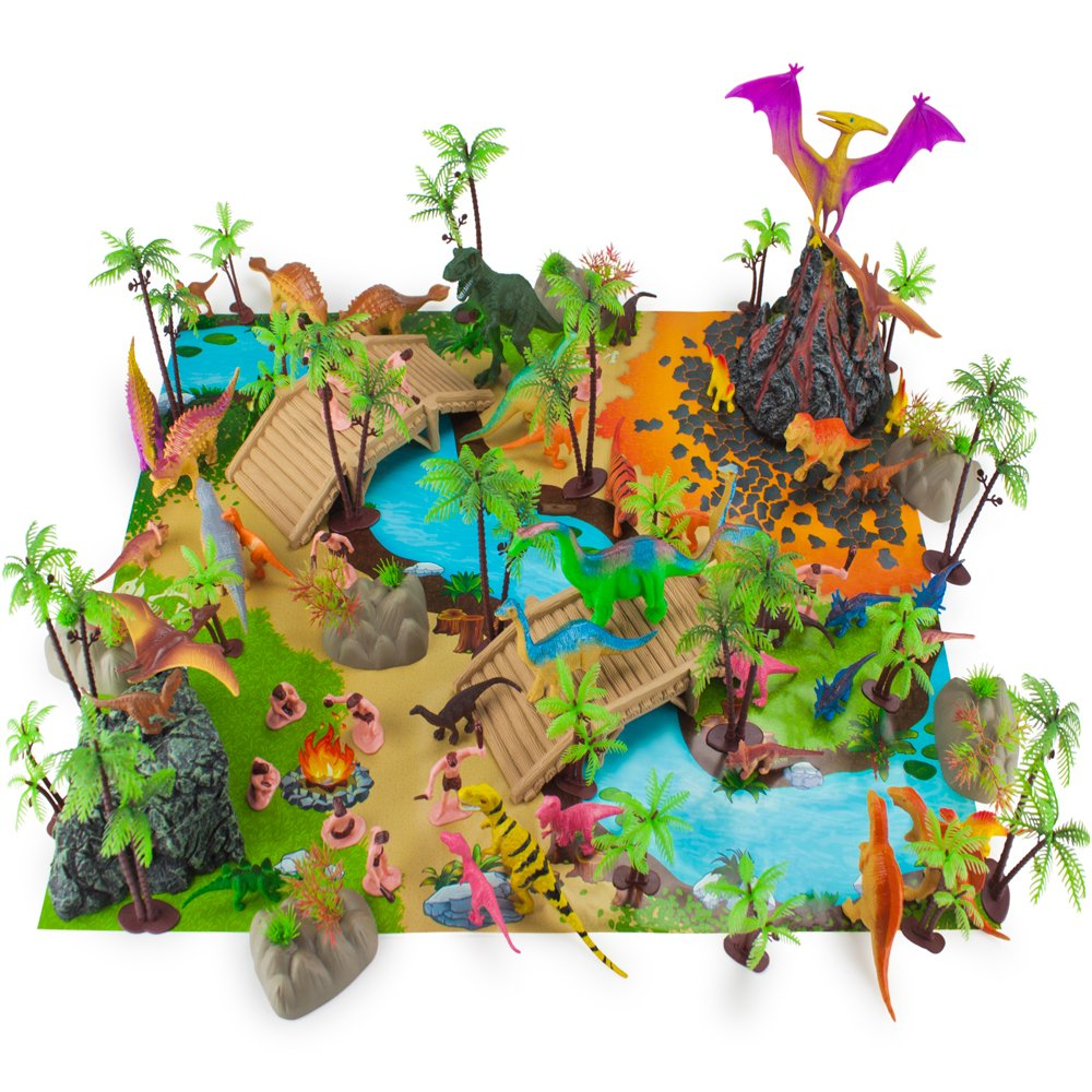 Imagination Generation 100 Piece Jurassic Dinosaur and Cave Man Prehistoric Playset | Includes Play Mat, Storage Containter, Volcano, Bridges, and Plants | Educational Booklet Packed In with Each Set by Imagination Generation (Image #1)