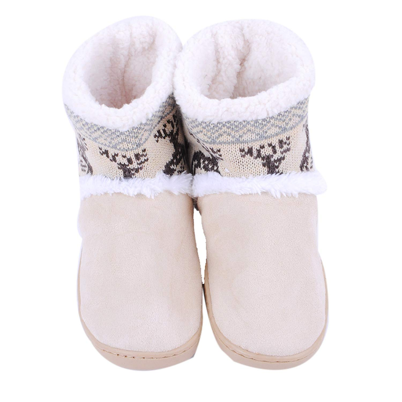 Good-Memories Women Home Soft Boots Shoes Winter Warm Boots Indoor Cute Deer Shape Snow Boots